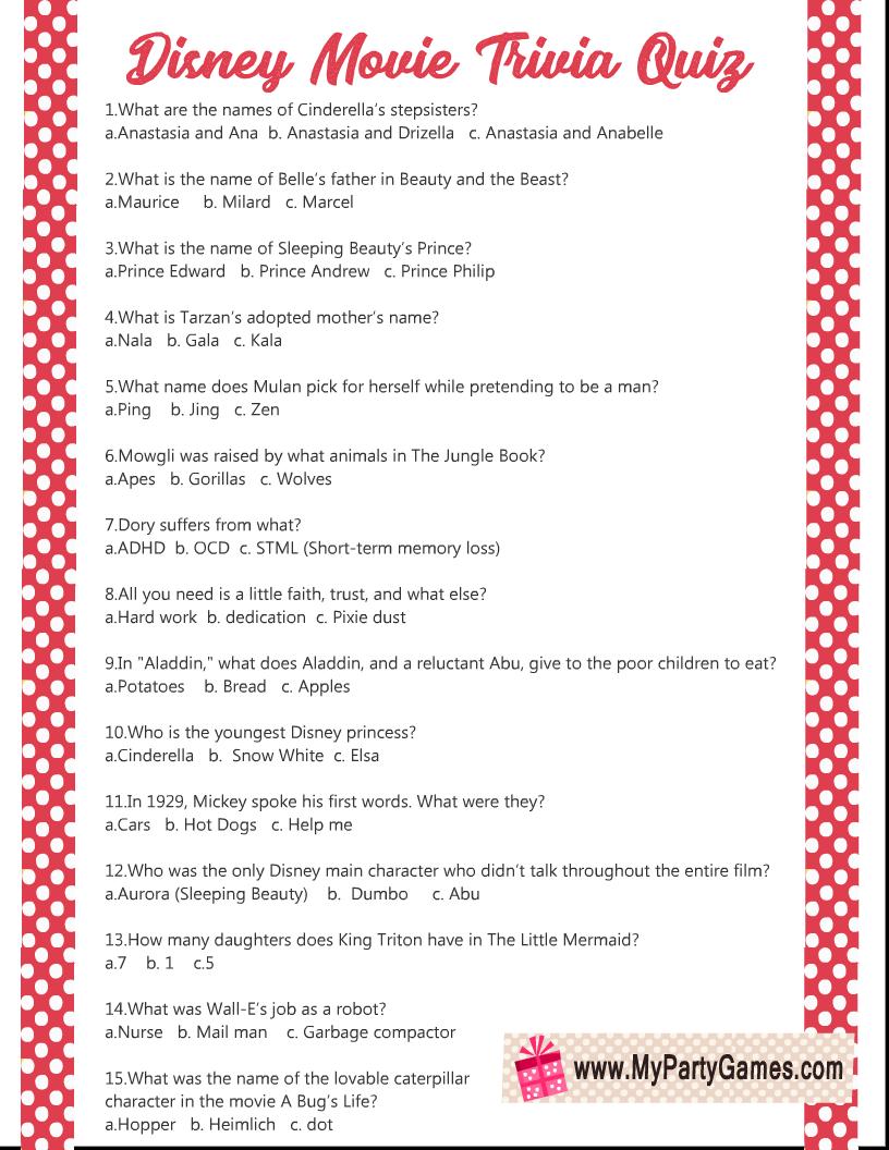 Free Printable Disney Movie Trivia Quiz