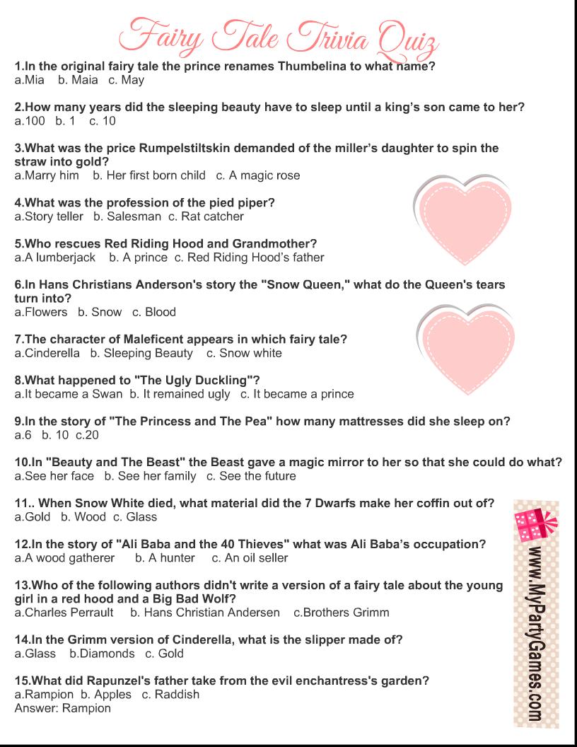 Fairy Tale Trivia Quiz Printable