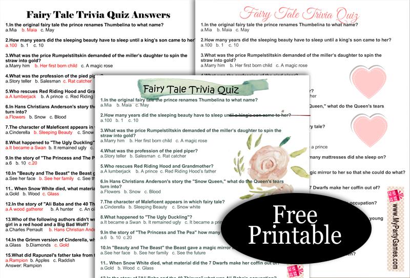 Free Printable Fairy Tale Trivia Quiz