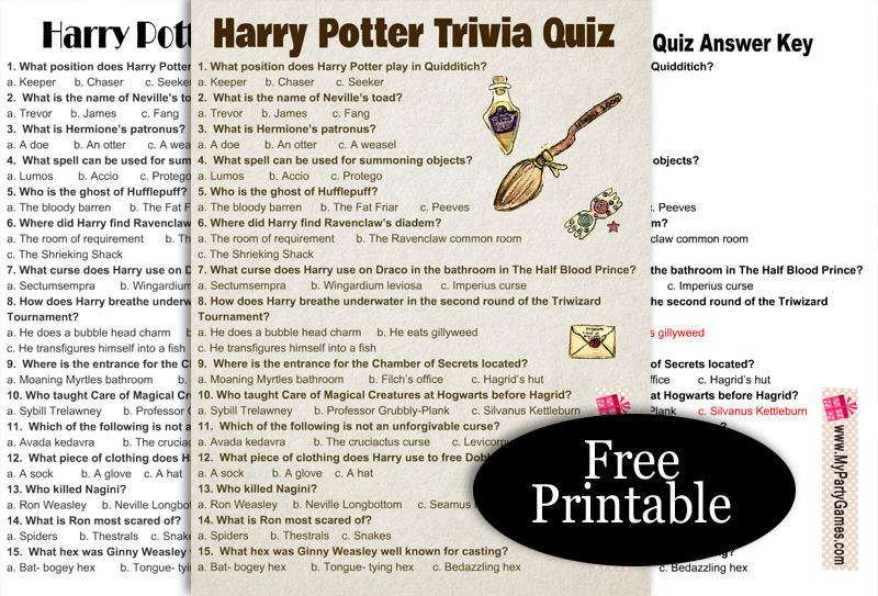 Free Printable Harry Potter Trivia Quiz with Answer Key