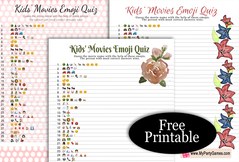Free Printable Kids' Movie Emoji Quiz