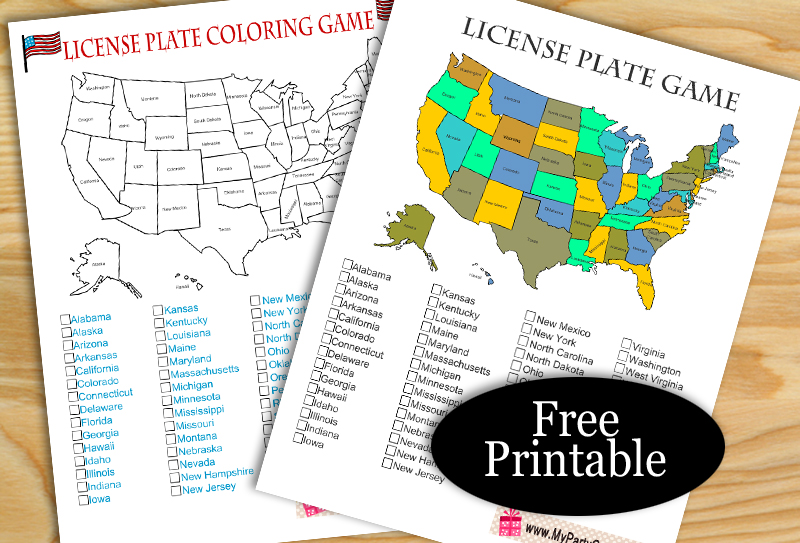 Free Printable License Plate, Road Trip Game