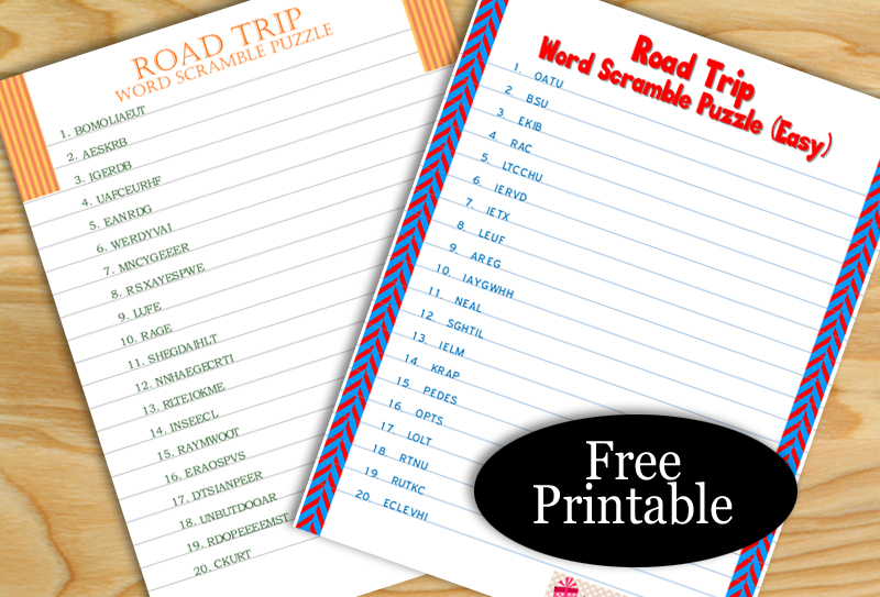 Free Printable Road Trip Word Scramble Puzzles