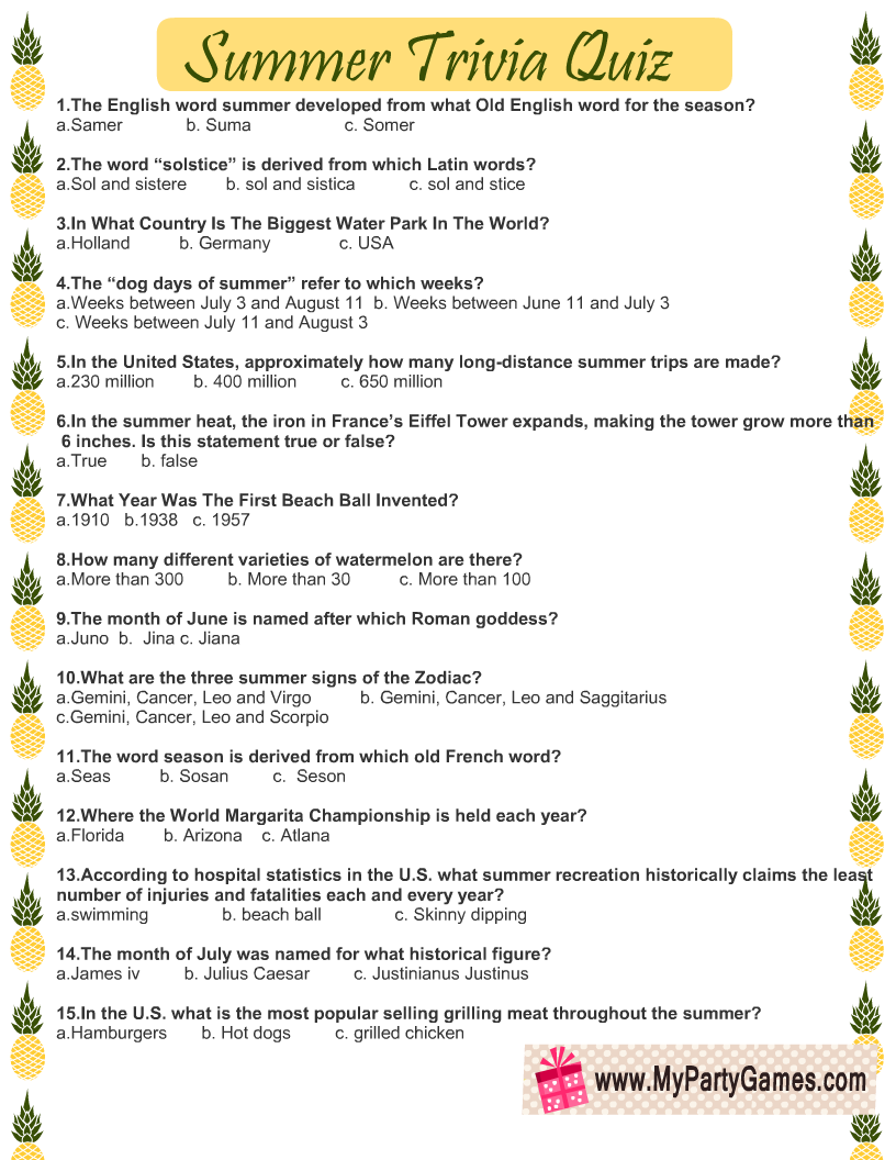 Summer Trivia Quiz Free Printable