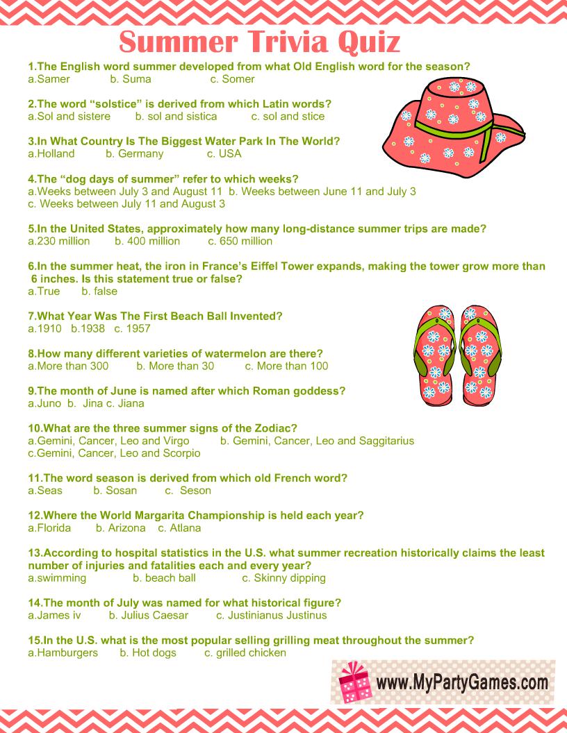 Free Printable Summer Trivia Quiz