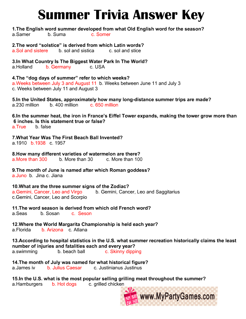 Free Printable Summer Trivia Quiz Answer Key