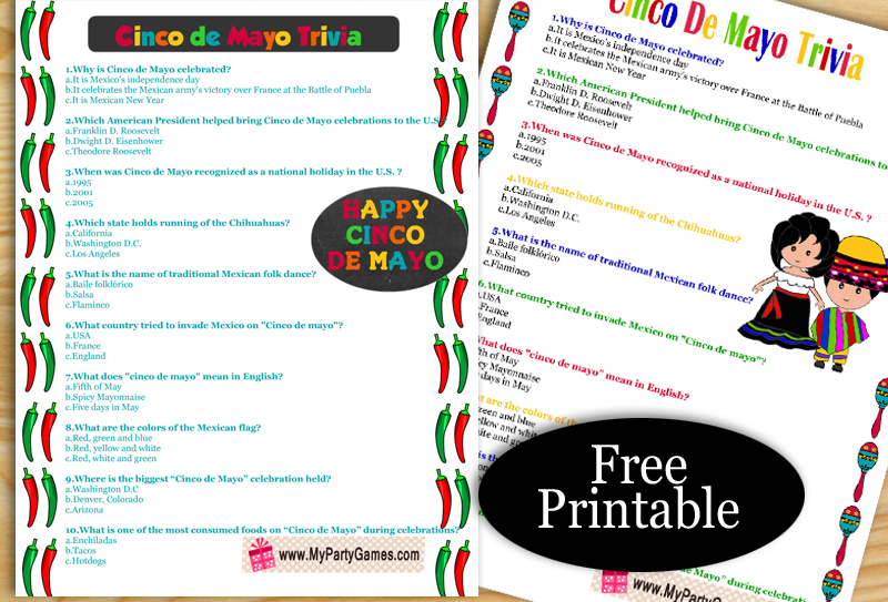 Free Printable Cinco de Mayo Trivia Quiz