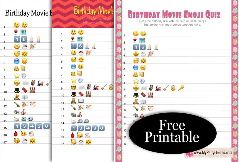Free Printable Birthday Movie Emoji Quiz