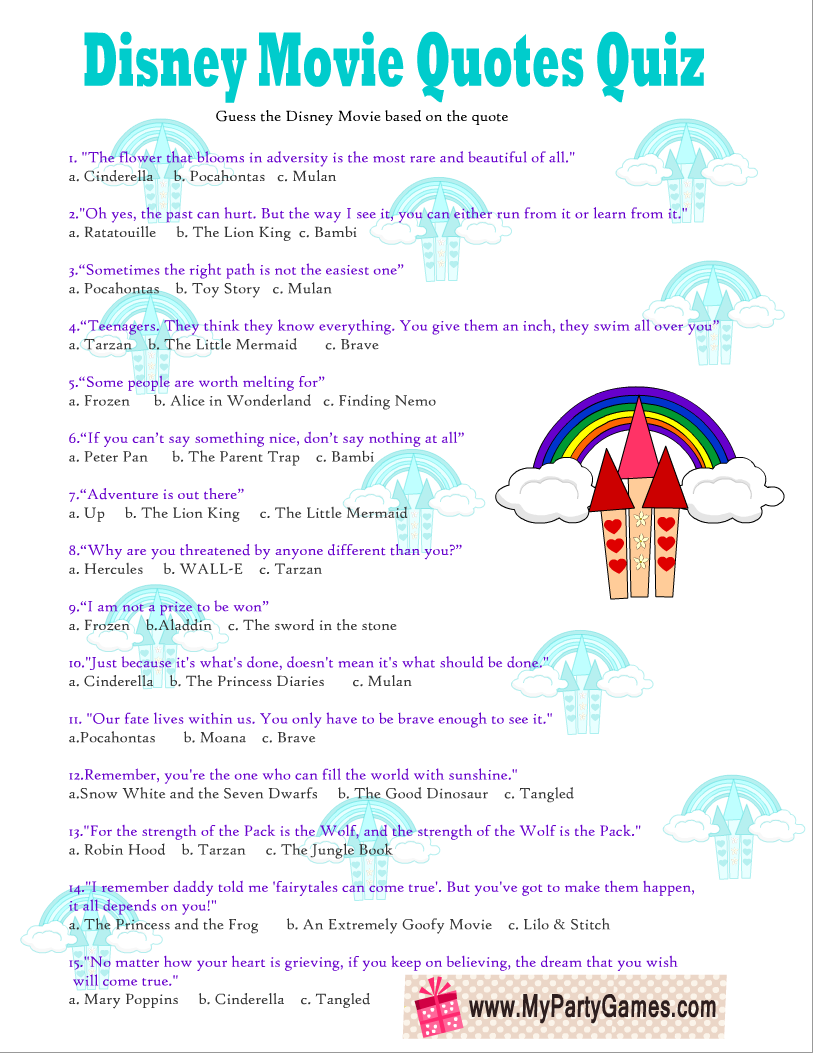 Free Printable Disney Movie Quotes Quiz