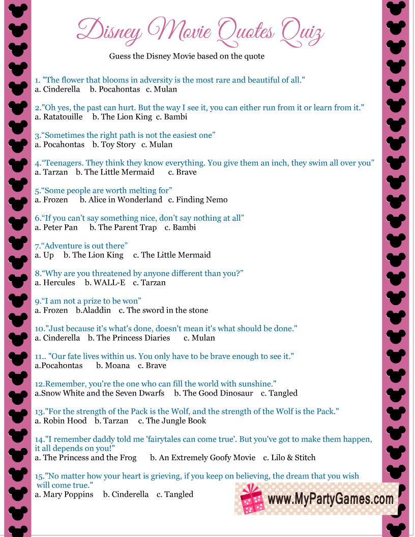 Disney Movie Quotes Quiz Printable