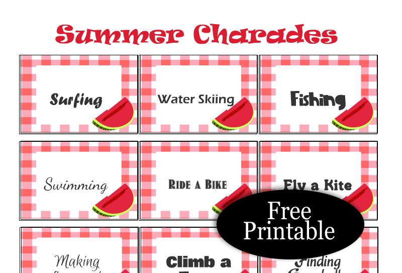 Free Printable Summer Charades