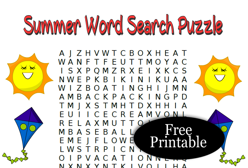 16 Free Printable Summer Word Search Puzzles
