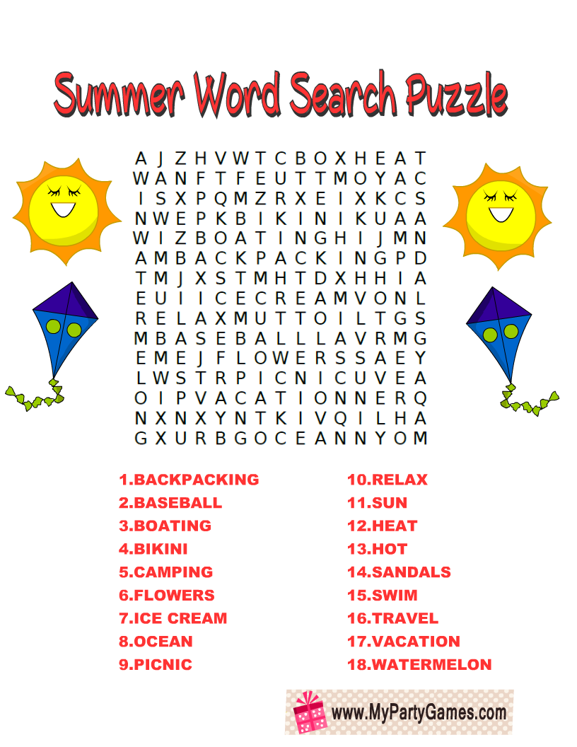 Free Printable Summer Word Search Puzzle