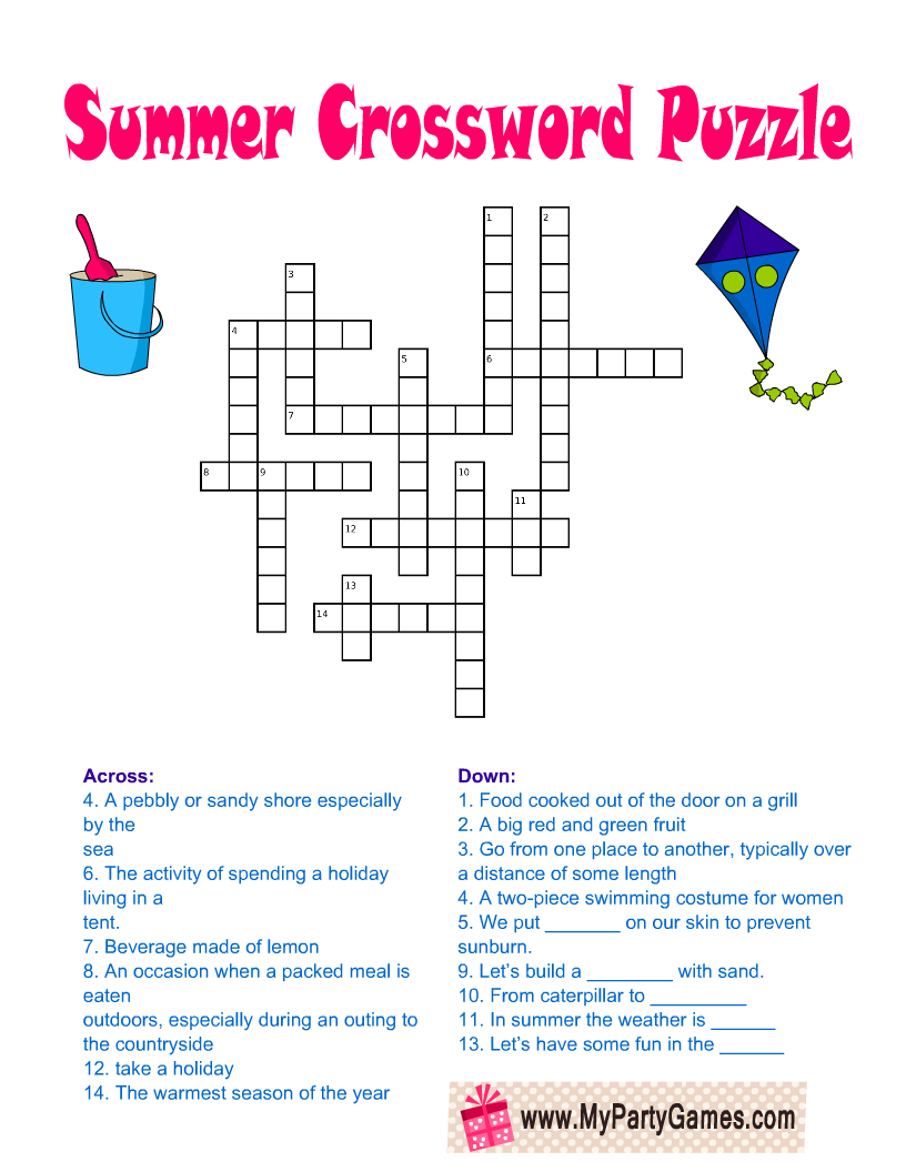 Free Printable Summer Crossword Puzzle