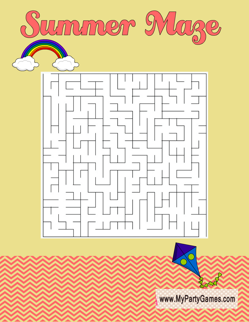 Free Printable Summer maze with Kite and Sky