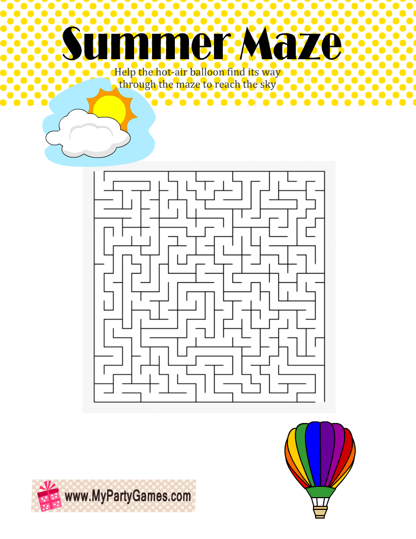 Hot-Air Balloon Summer Maze Printable
