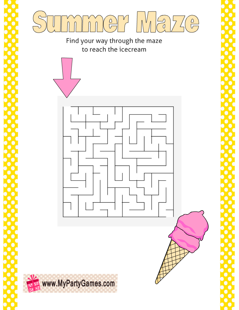 Free Printable Summer Ice-cream Maze