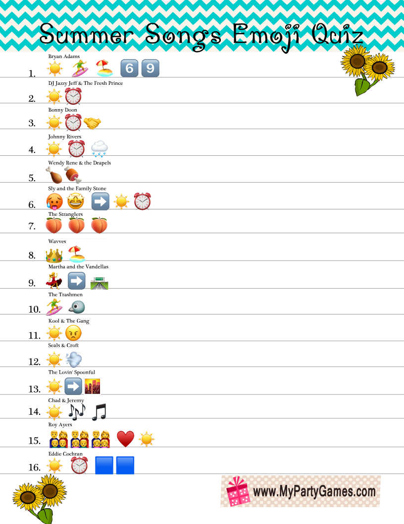 Free Printable Summer Songs Emoji Quiz