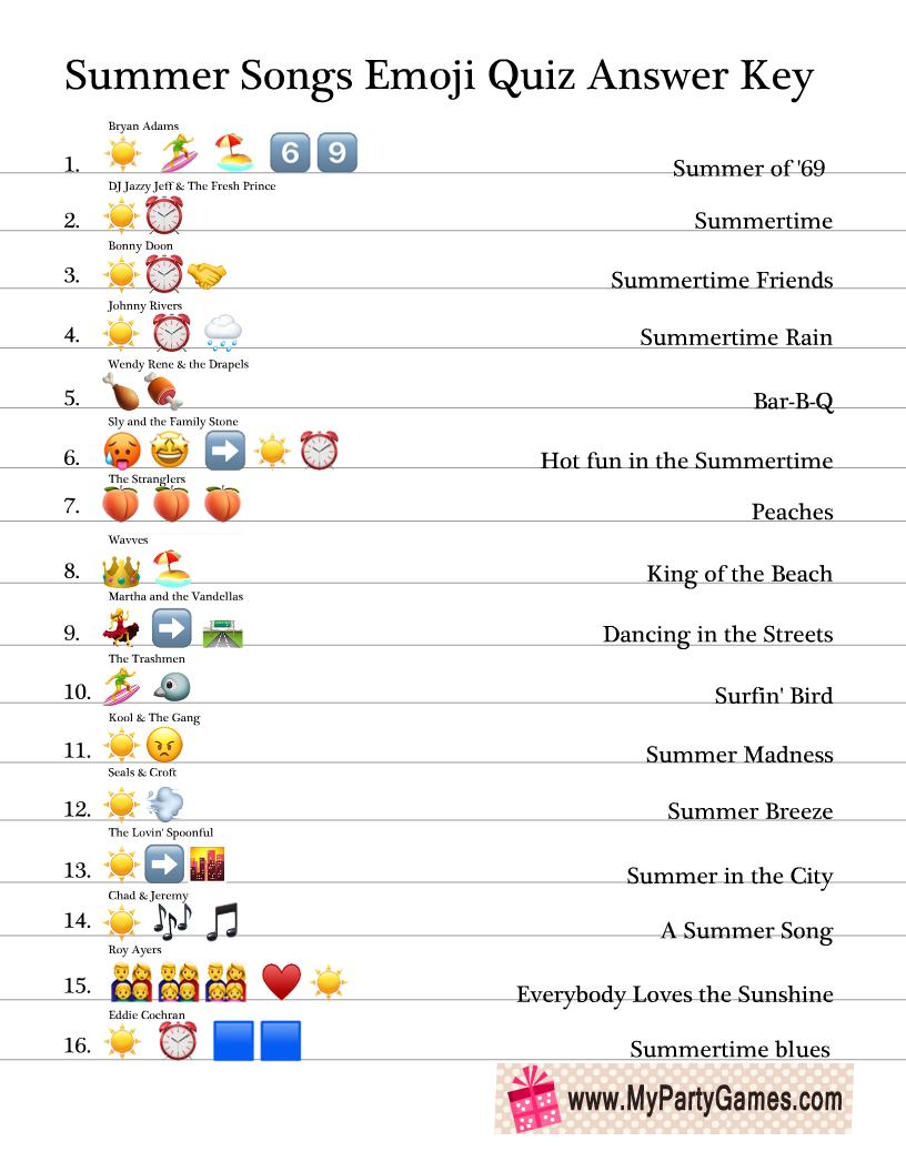 Summer Songs Emoji Quiz Answer Key