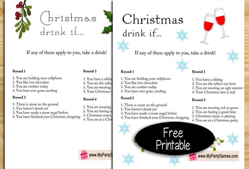 Free Printable Christmas Drink If Game for Adults