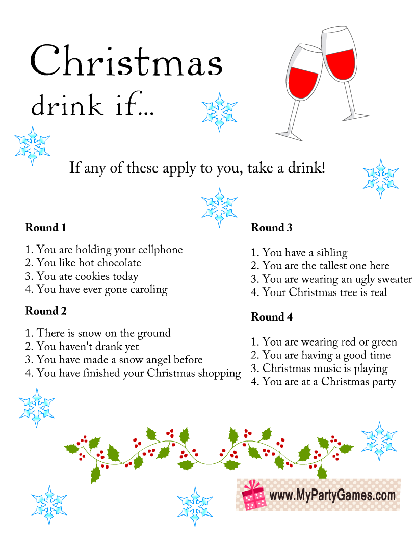 Christmas drink if game, Office Christmas party game