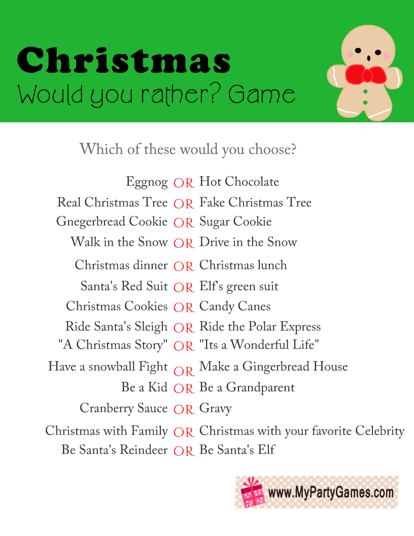 Would you Rather? Printable Game for Christmas
