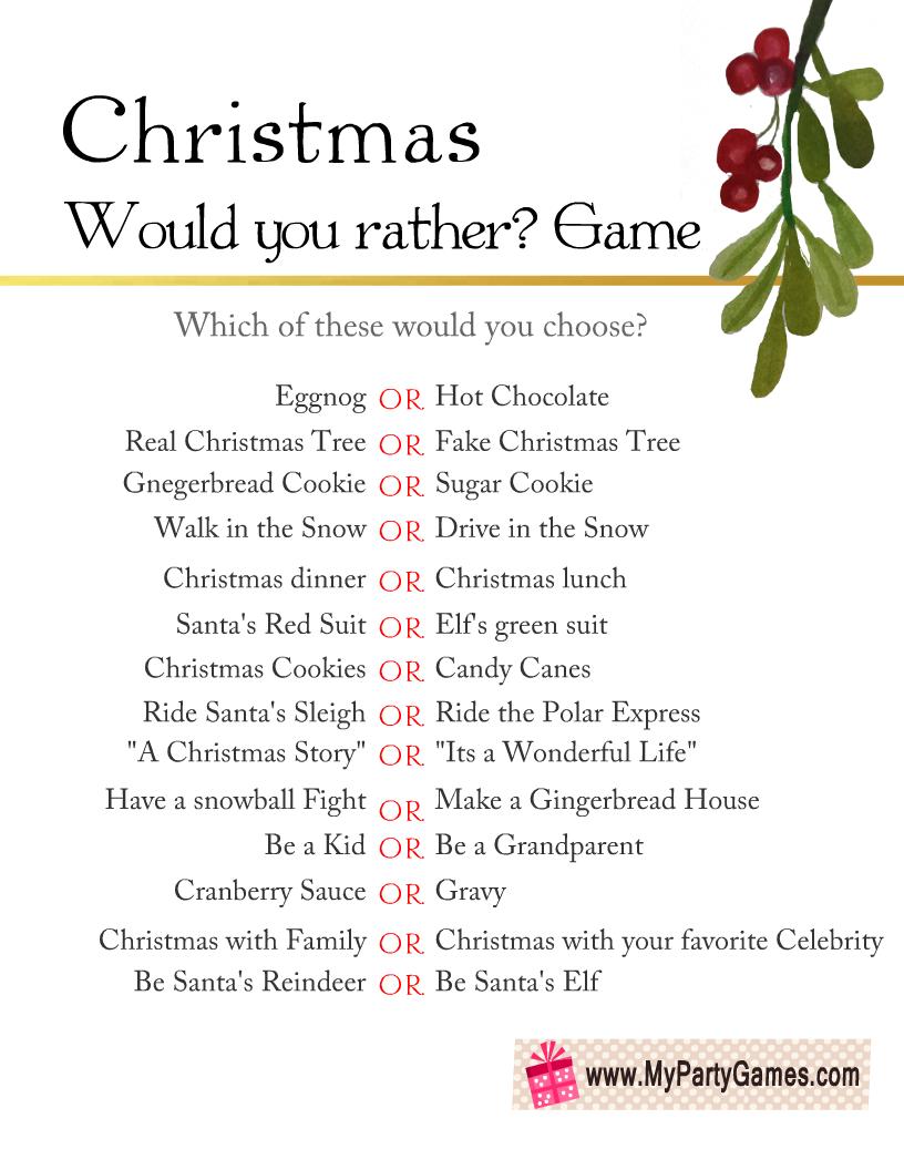Free Printable Would You Rather? Christmas Game