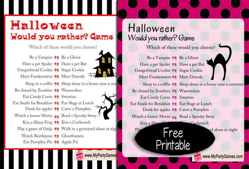 Free Printable Halloween Would you Rather? Game